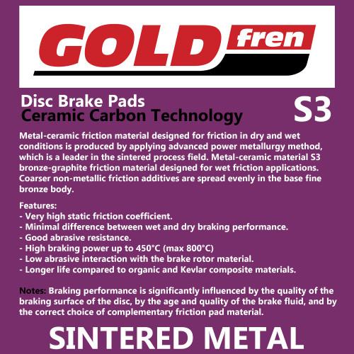 Gold Fren 124 / Premier 194 Brake Pads GF124S3