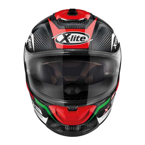 X-Lite X903 (by Nolan Helmets Italy) Ultra Carbon Full Face Motorcycle Helmet - Tri Colour: Black / Red / White / Green