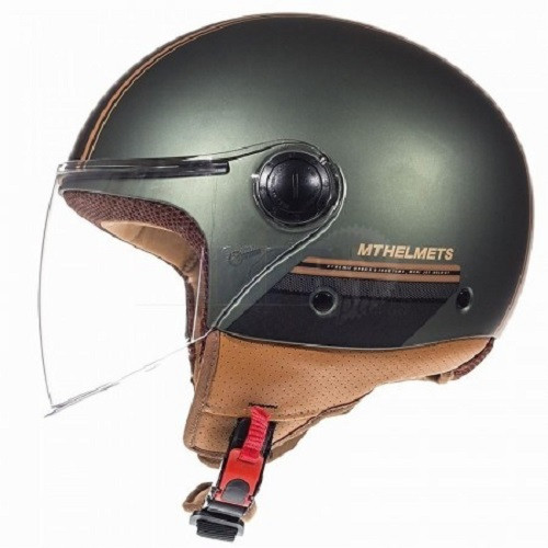 MT Jet Street Motorcycle / Scooter Open Face Helmet, Entire Matt Brown/Green