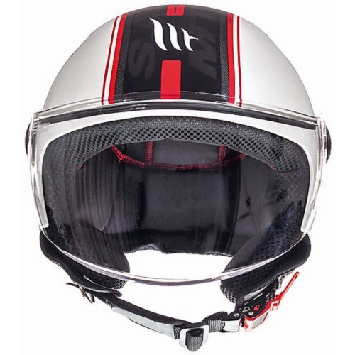 MT Jet Street Motorcycle / Scooter Open Face Helmet, Entire Matt White/Red