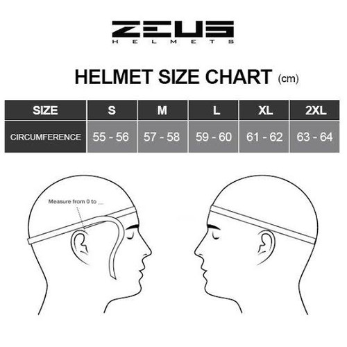 Zeus 811 Full Face Motorcycle Helmet, Black/Red
