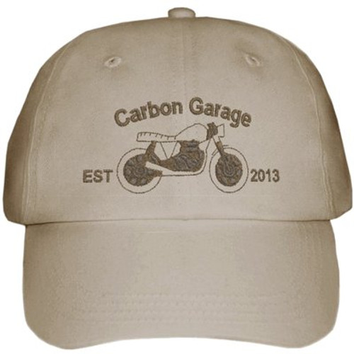 Carbon Garage Motorcycles Cap, Embroidered, Navy Blue or Khaki, NZ Free Post Shipping
