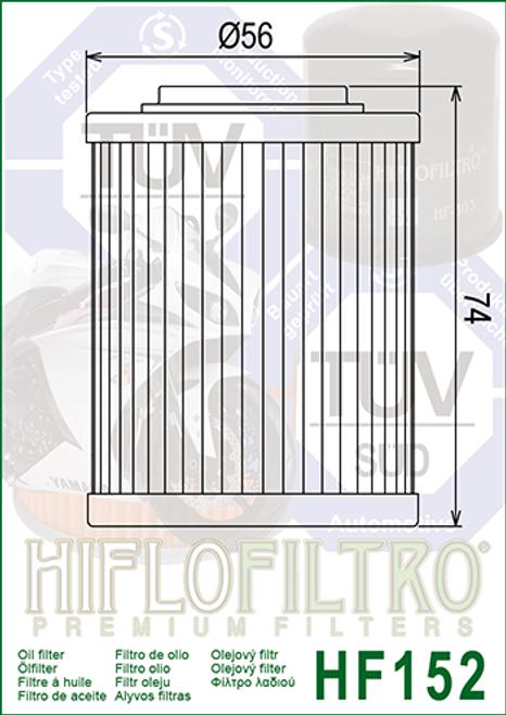 Hiflo Oil Filter, Aprilia 02-50-187 (HF152)