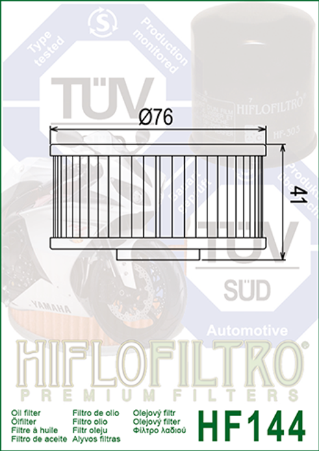 Hiflo Oil Filter, 1L9-13440-91, 1L9-13441-11 (HF144)