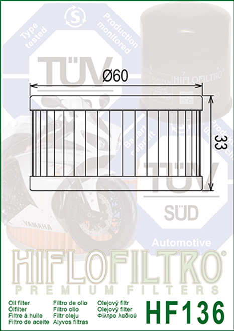 Hiflo Oil Filter, 16510-38240 (HF136)