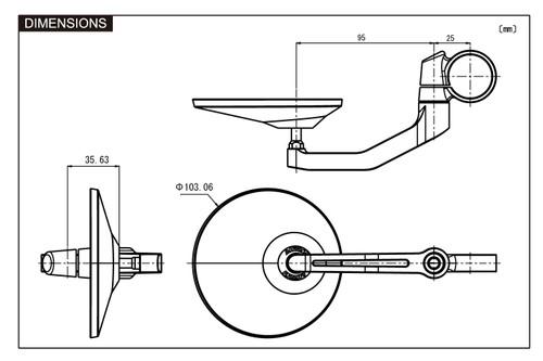 "Daytona Motorcycle Aluminium ""D-MIRROR-3"" Bar End Mirror, Round type, Black"