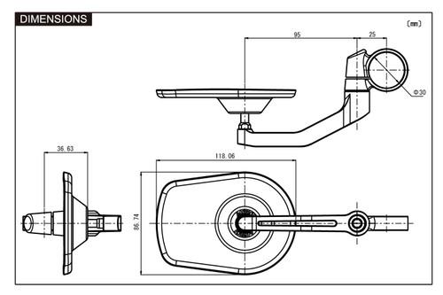"Daytona Motorcycle Aluminium ""D-MIRROR-5"" Bar End Mirror, Black Pan"