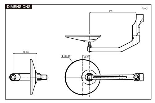 """Daytona Motorcycle Aluminium """"D-MIRROR-3"""" Mirror, Round/Rod Type, Black"""