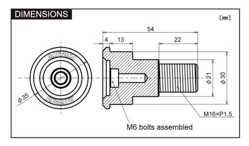 "Bar End Mirror Adaptor,  ""D-Mirror"" Bar End, Yamaha MT07 MT-07 MT09 MT-09 XSR900"