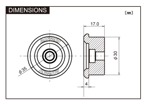 "Daytona Bar End Mirror Adaptor,  ""D-Mirror"" Bar End, For Suzuki GSR750,GSX1400, Black"