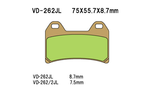 Vesrah Disc Pads VD262JL SD262 AX35244, Sintered Metal Brake Pads