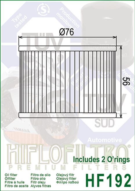 Hiflo Oil Filter, 121-00-31- to 301 Triumph (HF192)