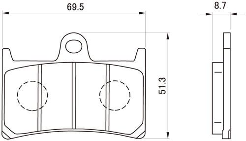 Daytona (Japan) Motorcycle Golden Brake Pad Set (1 set of 2 pads), (F), Yamaha MT09, YZF-R1, YZF-R6, YZF-R7