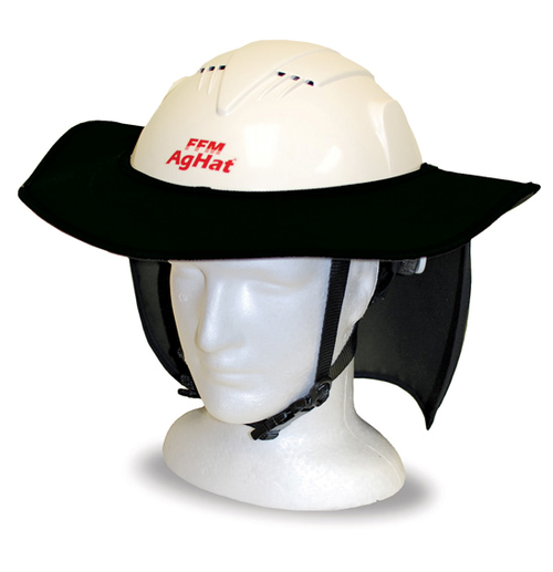 AgHat *MAX* Brim/Neck Curtain Combo, Black, for AgHat MAX - ATV Helmet (52-64cm), Multi Fit, Safety Standards, for Farming, Forestry, Arboriculture & Construction