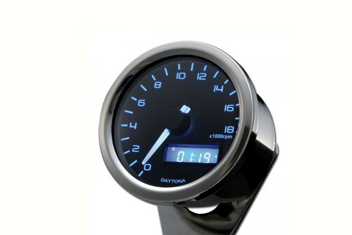 Velona 60 Tachometer, 60mm, 18,000 rpm, Blue LED with Bracket, Polish Chrome