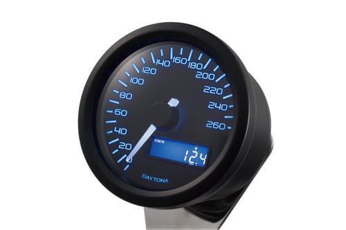 Velona 60 Speedometer, 260 KMH (MPH), Blue LED, Black