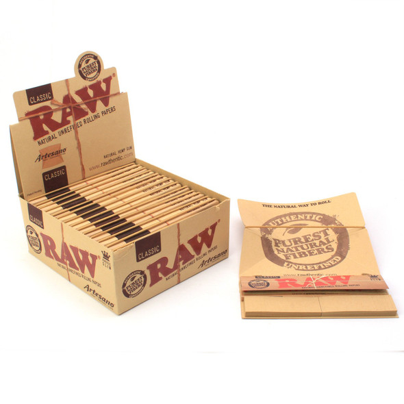 RAW Classic Artesano Rolling Papers with Tips King Size - 15 ct.