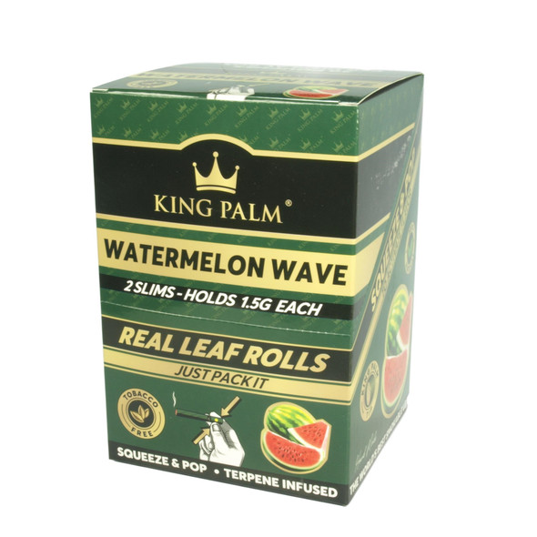 King Palm Slim Watermelon Wave Flavored - 20 Packs Per Box, 2 Wraps Per Pack