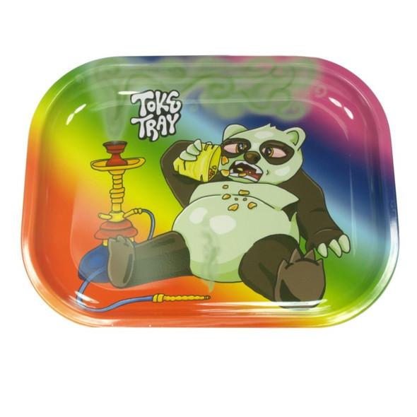 "Toke Tray Puff Panda Metal Rolling Tray 5"" x 7"""