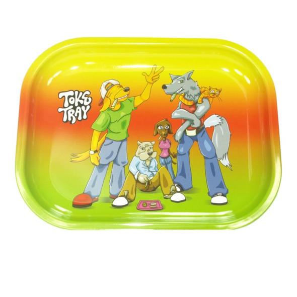 "Toke Tray Smoking Dogs Metal Rolling Tray 5"" x 7"""