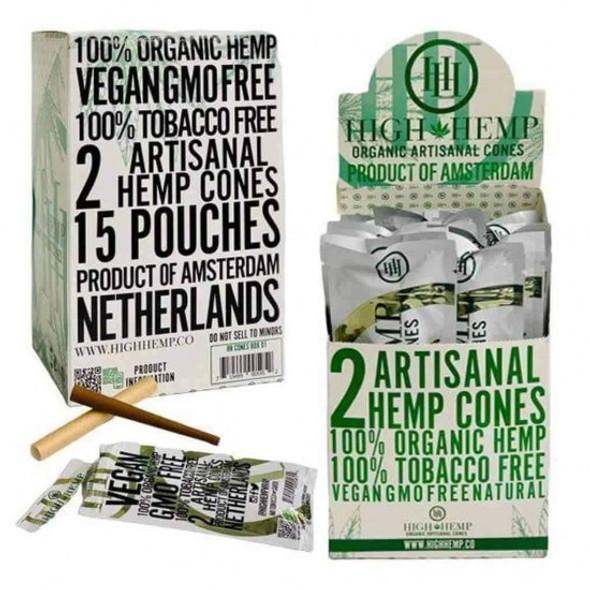 High Hemp Artisanal Hemp Cones - 15 Packs Per Box, 2 Per Pack