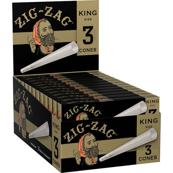 Zig Zag Pre-Rolled Cones King Size - 24 Packs Per Box, 3 Cones Per Pack