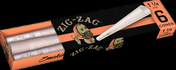 "Zig Zag Orange Pre-Rolled Cones 1¼"" Size - 24 Packs Per Box, 6 Cones Per Pack"
