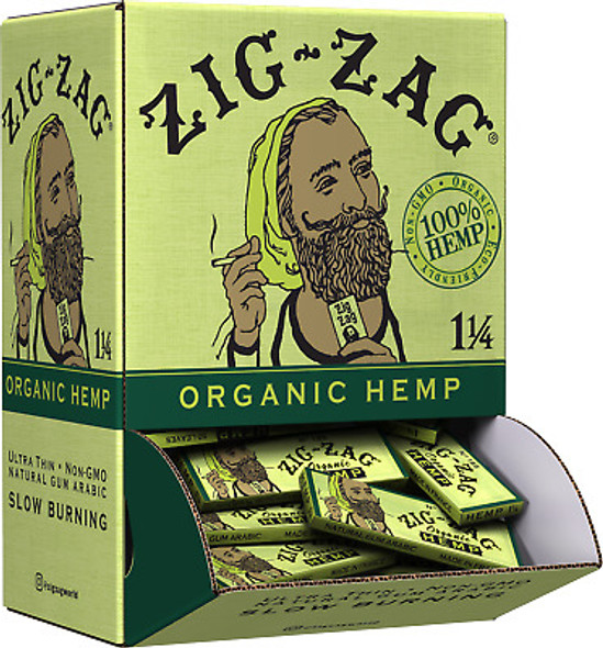 "Zig Zag Organic Hemp 1 1/4"" Size Rolling Papers 48 ct. Promo Display"