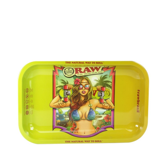 """RAW Brazil 2nd Edition Metal Rolling Tray Small 7"""" x 11"""""""