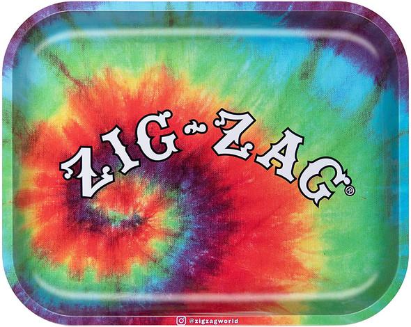 "Zig Zag Tie Dye Metal Rolling Tray 11"" x 13.5"""