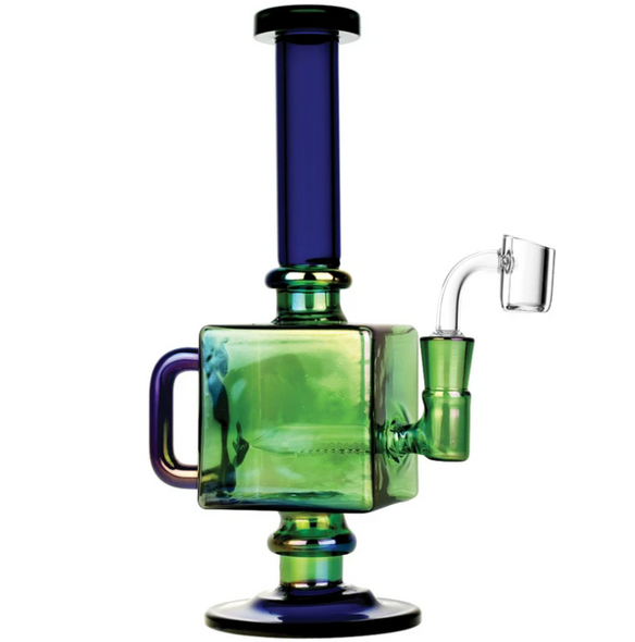 "9.5"" Iridescent Teapot Cube Inline Oil Rig"
