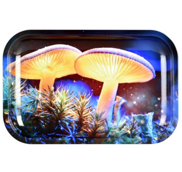 "Pulsar Mystical Mushrooms Metal Rolling Tray 7"" x 11"""
