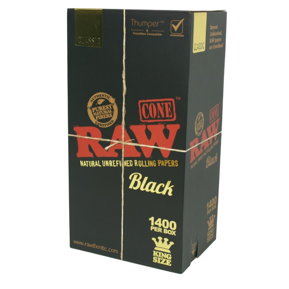 RAW Black Bulk Pre-Rolled Cones King Size - 1400 ct.