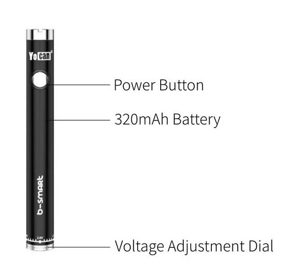 Yocan B-Smart Slim Twist 320mAh Variable Voltage Battery Display - 50 ct.