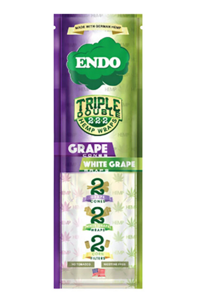 "Endo Pre-Rolled Hemp Cones ""Triple Double"" - 15 Packs Per Box, 2 Pre-Rolled Cones, 2 Hemp Wraps, 2 Filters Per Pack"