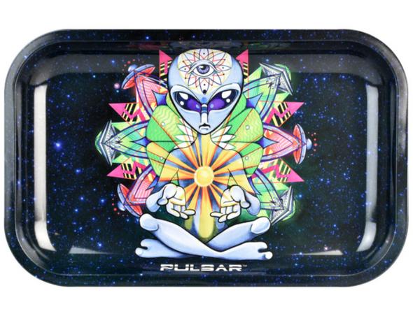 "Pulsar Psychedelic Alien Metal Rolling Tray 7"" x 11"""