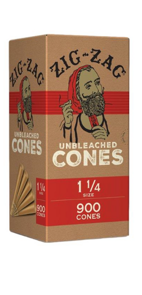 """Zig Zag Unbleached Bulk Pre-Rolled Cones 1¼"""" Size - 900 ct."""
