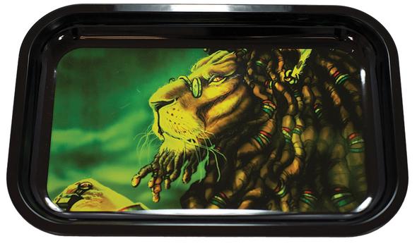 "Reggae Lion Metal Rolling Tray 7"" x 11"""