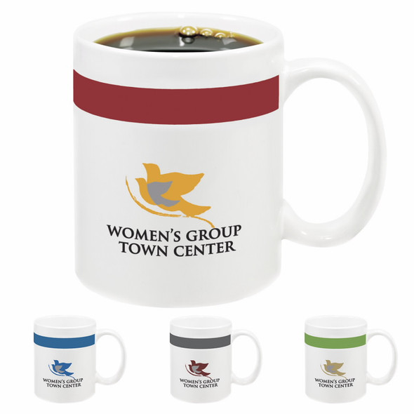 Custom Printed Color Stripe 11 oz. Mug