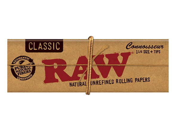 "RAW Connoisseur 1 1/4"" Size Rolling Papers with Tips 24 ct."