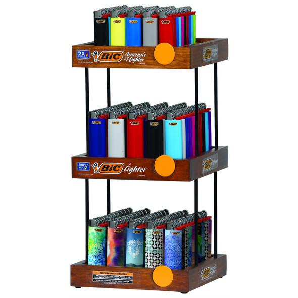 Bic Lighter 3-Tier Wood Display