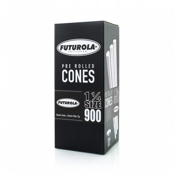 """Futurola Pre-Rolled Cones 1 1/4"""" Size Classic White 900 ct."""