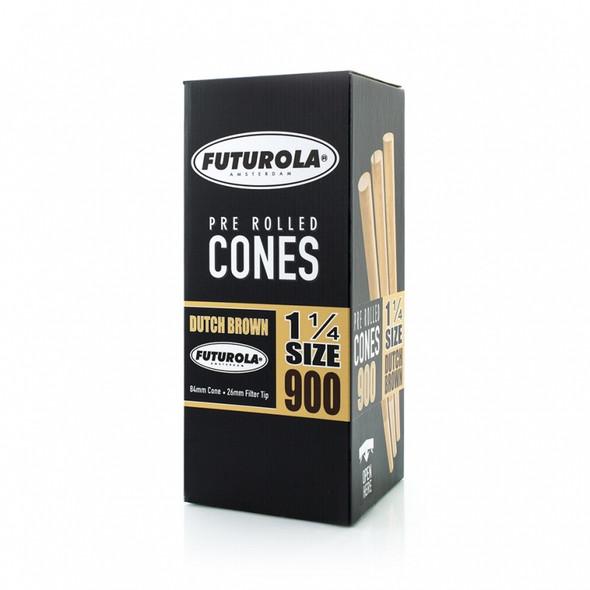 "Futurola Pre-Rolled Cones 1 1/4"" Size Dutch Brown 900 ct."