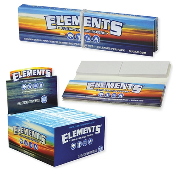 Elements Connoisseur Rolling Papers with Tips King Size - 24 ct.