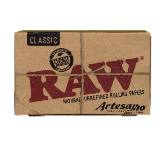 """RAW Classic Artesano Rolling Papers with Tips 1¼"""" Size - 15 ct."""