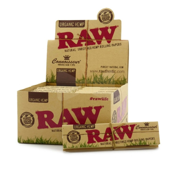 RAW Organic Hemp Connoisseur Rolling Papers with Tips King Size - 24 ct.