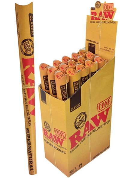 RAW Classic Pre-Rolled Cones Supernatural Size - 15 Packs Per Box, 1 Cone Per Pack