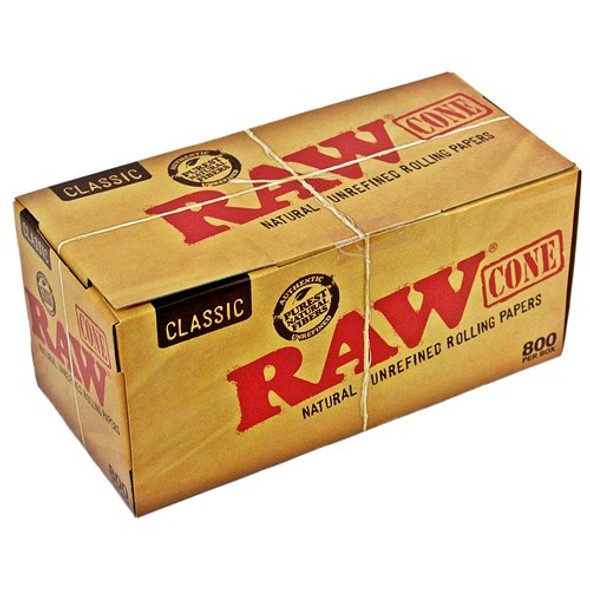 RAW Natural Unrefined King Size Pre-Rolled Cones 800 ct.
