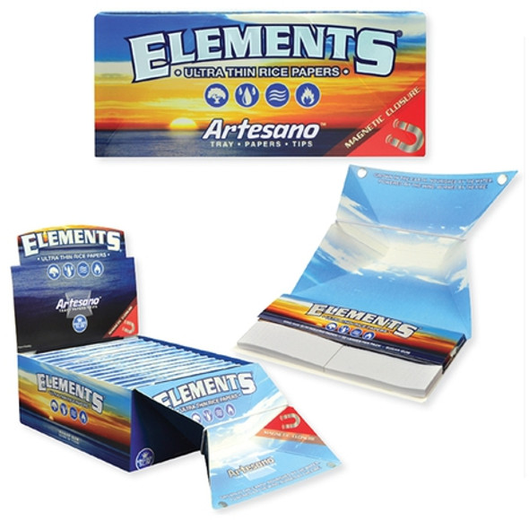 Elements Artesano King Size Rolling Papers with Tips 15 ct. Box