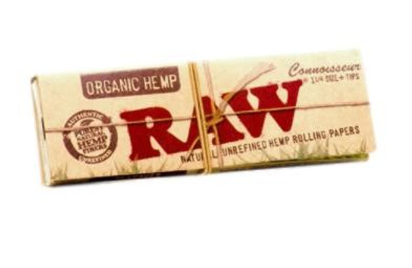 """RAW Organic Hemp Connoisseur Rolling Papers with Tips 1¼"""" Size - 24 ct."""